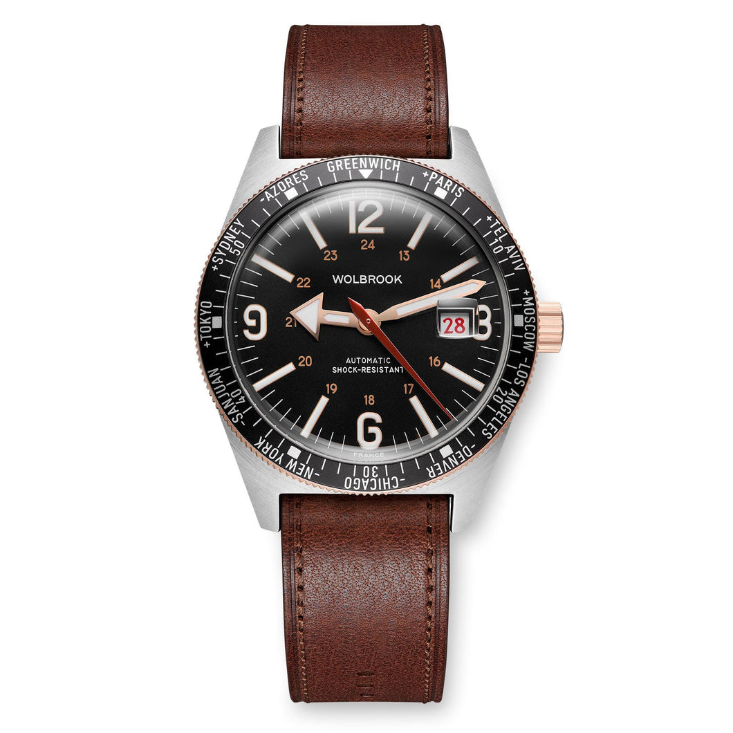 Skindiver WT Automatic Two-Tone, Black Dial with Vintage Accents and Rose Gold Hands