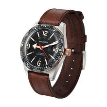 Load image into Gallery viewer, Skindiver WT Automatic Two-Tone, Black Dial with Vintage Accents and Rose Gold Hands 3/4 view