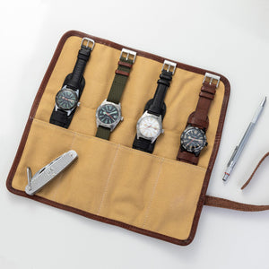 Camel Canvas & Leather Watch Roll for 4 Watches