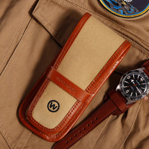 Single watch pouch in camel canvas and brown leather with a bracelet Skindiver WT Auto two-tone watch
