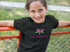 Girl wearing STEM and Flowers logo t-shirt