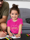 Girl wearing Kid's I Love Science T-Shirt