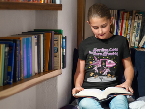 STEM girl wearing herding cats in space t-shirt