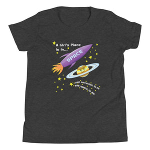 A girl's place is in space grey tshirt