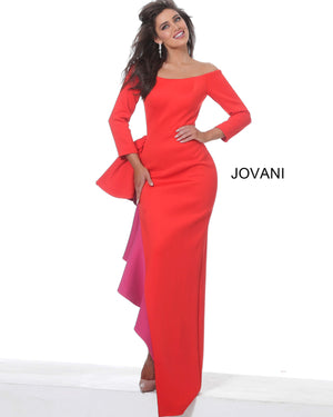 Jovani 00574 Red Fuchsia Off the Shoulder Evening Dress
