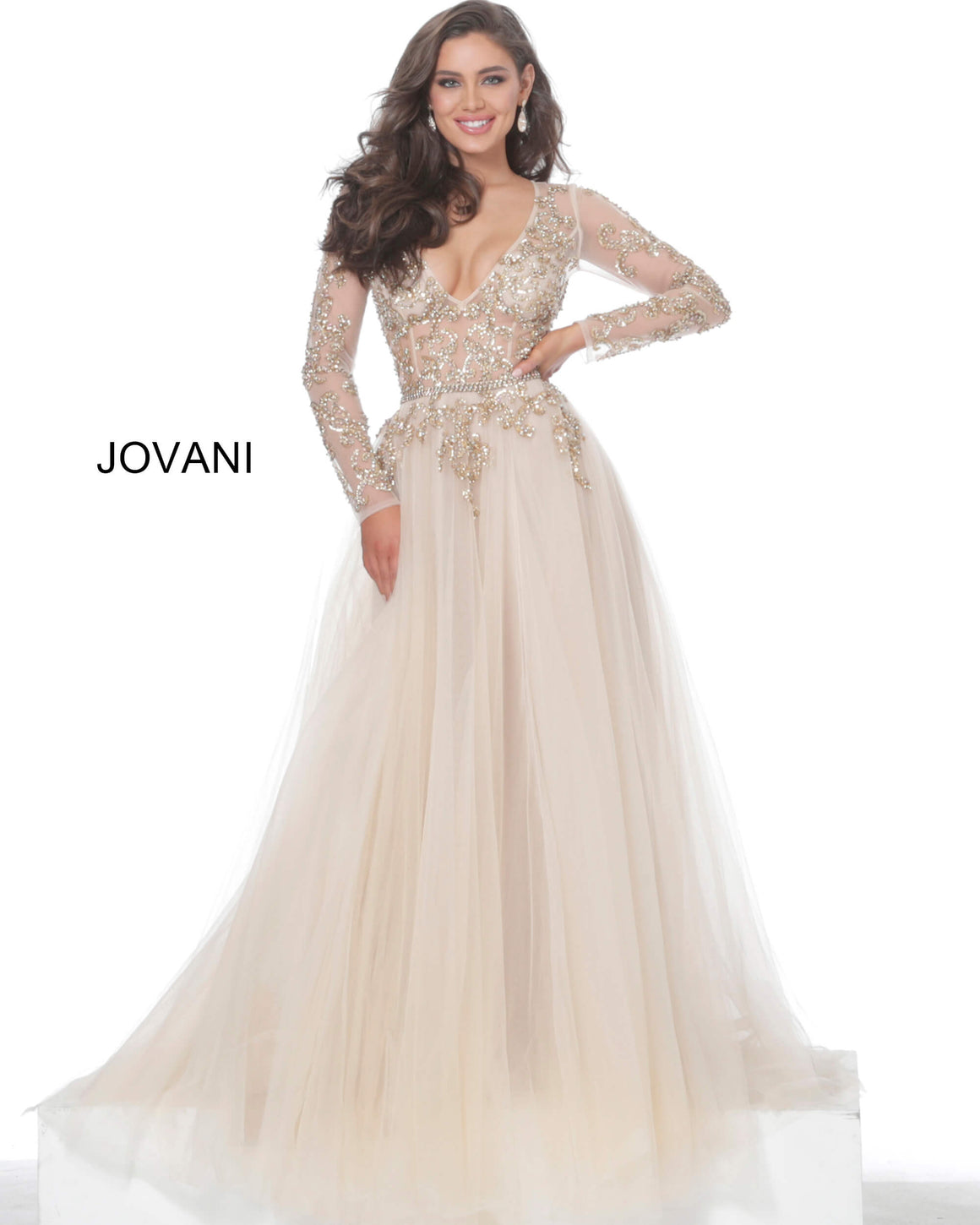 Jovani 00638 Champagne Gold Sheer Beaded Bodice Evening Gown
