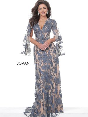 Jovani 00752 Navy Nude V Neck Lace Evening Dress