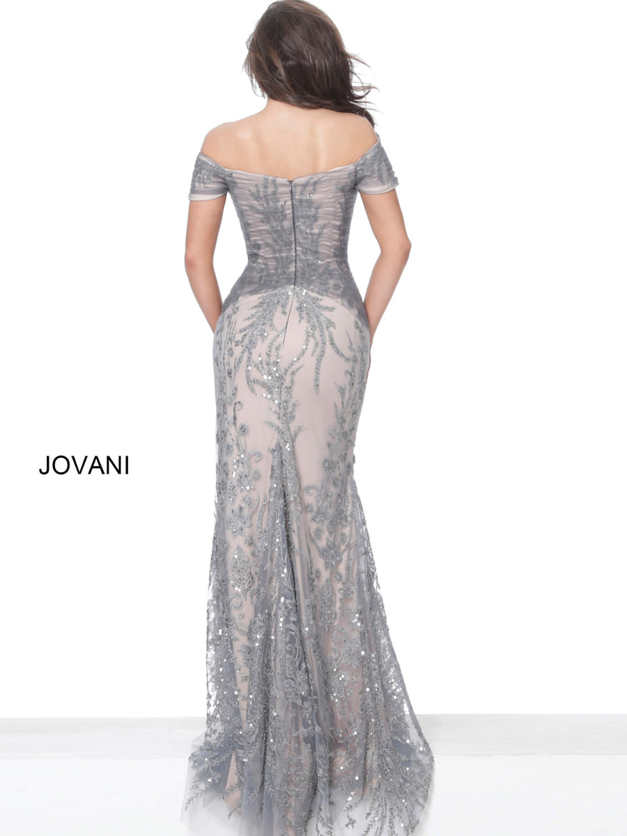 Jovani 02083 Gunmetal Off the Shoulder Ruched Bodice Evening Dress