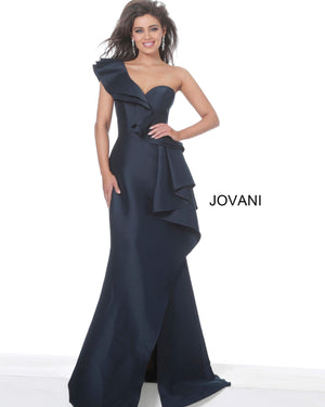 Jovani 02419 Navy One Shoulder Ruffle Evening Dress