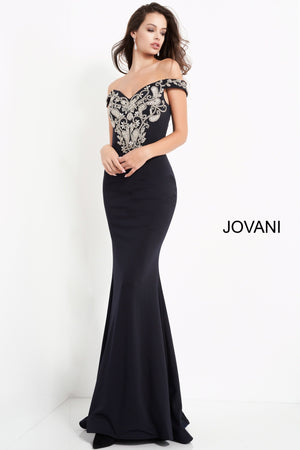 Jovani 02576 Off the Shoulder Embroidered Evening Dress