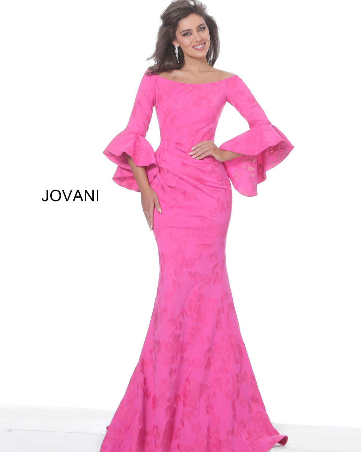 Jovani 02748 Fuchsia Off the Shoulder Bell Sleeve Evening Dress
