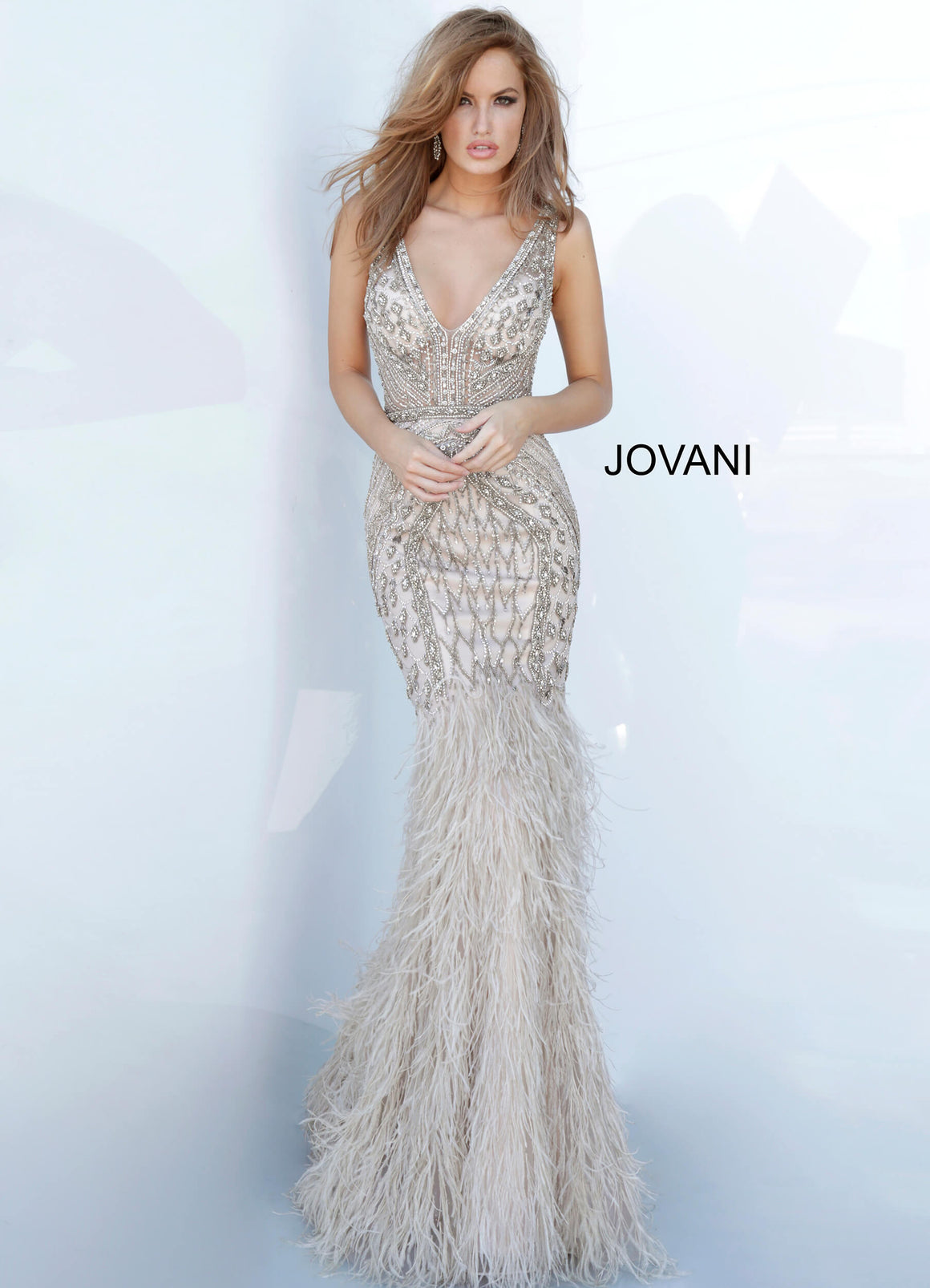 Jovani 02798 Feather Bottom Embellished Evening Dress