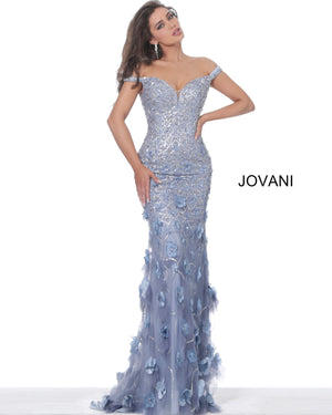 Jovani 03191 Floral Appliques Plunging Neck Evening Dress