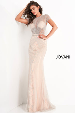 Jovani 03201 Cap Sleeve Beaded Evening Dress