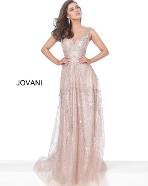 Jovani 03203 Rose Gold Embellished V Neck Evening Dress