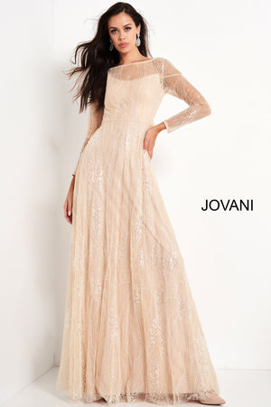 Jovani 03261 Embellished Long Sleeve Evening Dress