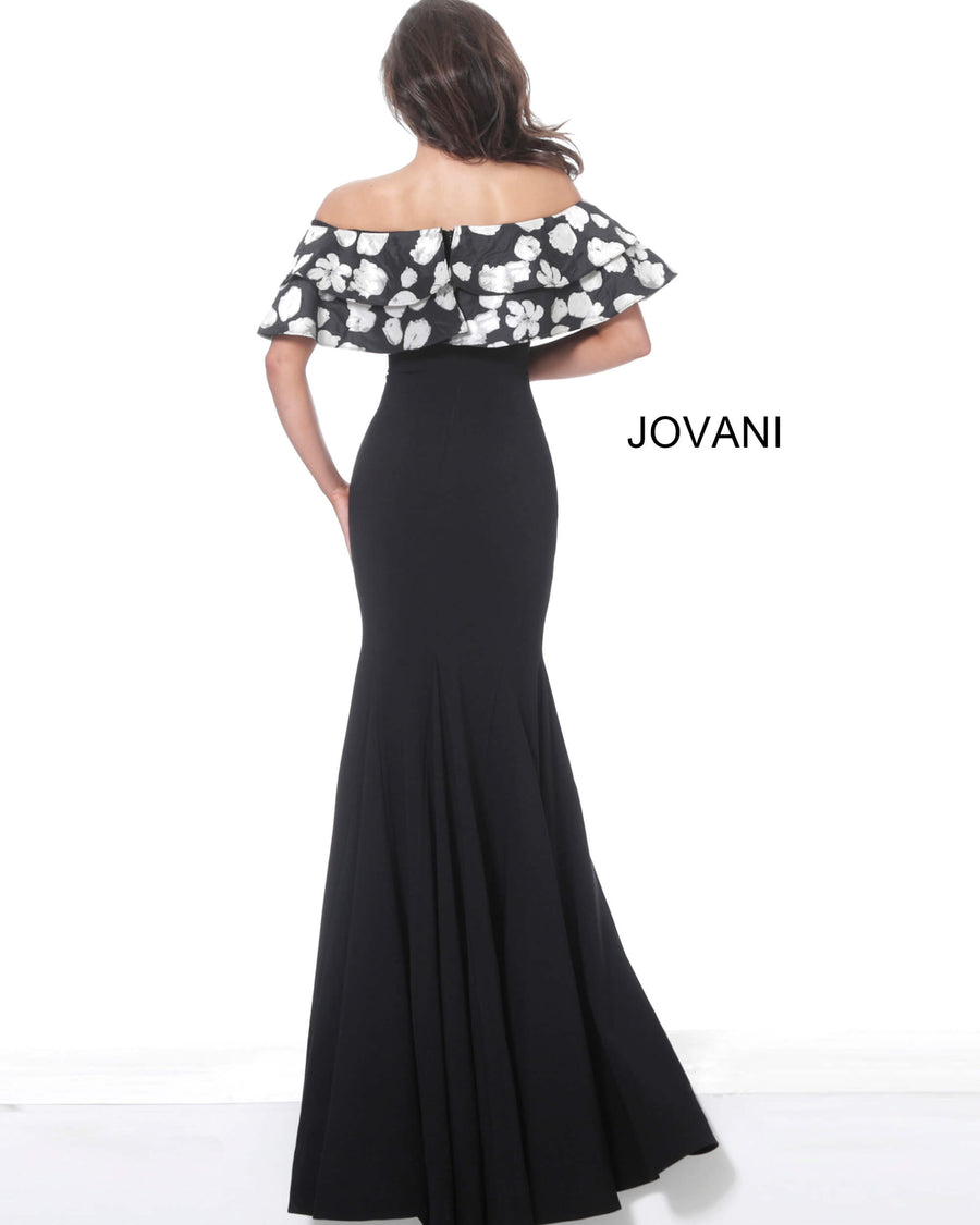 Jovani 03281 Black Off the Shoulder Ruffle Neckline Evening Gown