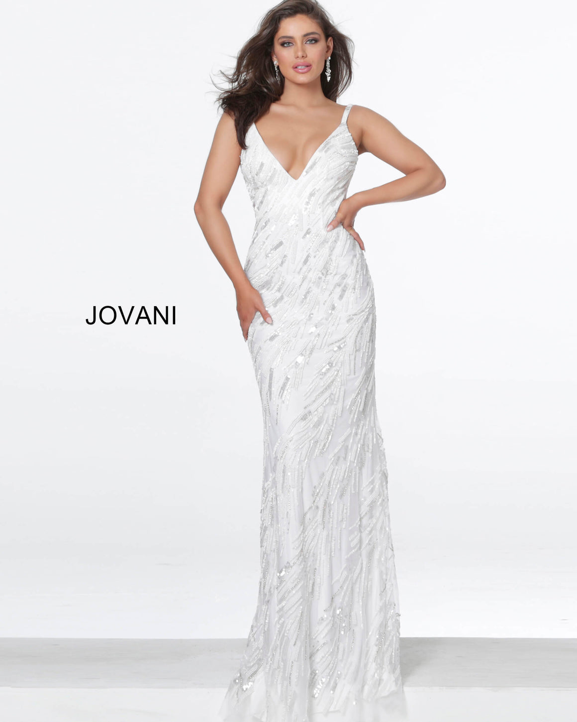 Jovani 03398 White Low Back Embellished Evening Dress