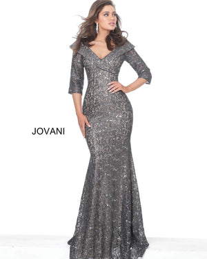 Jovani 03426 Three Quarter Sleeve Lace Evening Dress