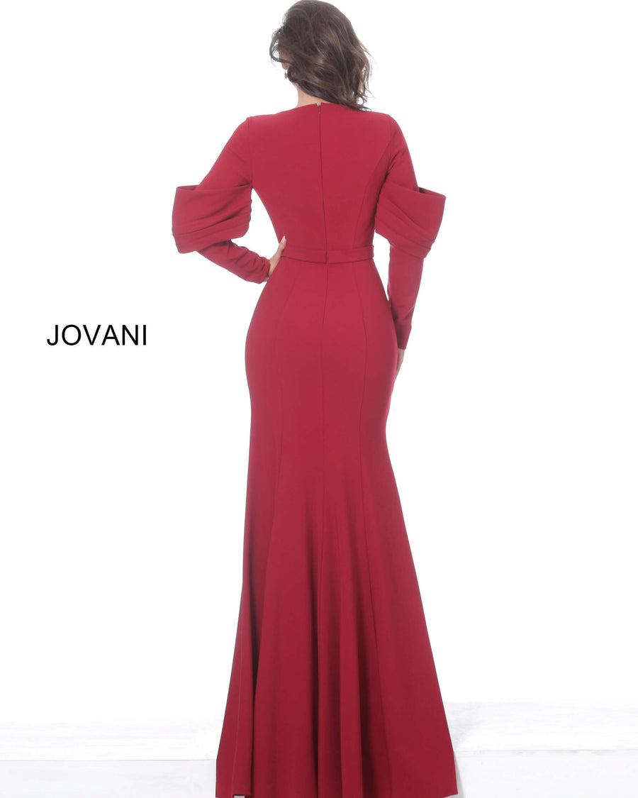Jovani 03486 Long Sleeve Crepe Evening Dress