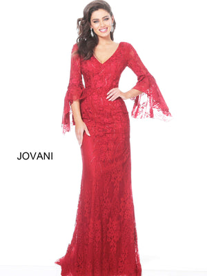 Jovani 03511 V Neck Bell Sleeve Evening Dress