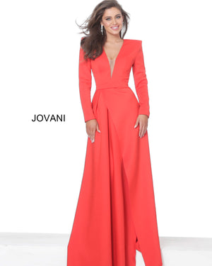 Jovani 03644 Scuba Long Sleeve Low V Evening Dress