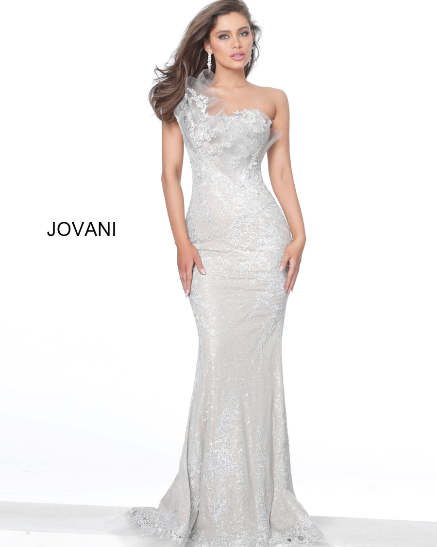 Jovani 03904 One Shoulder Lace Fitted Evening Dress