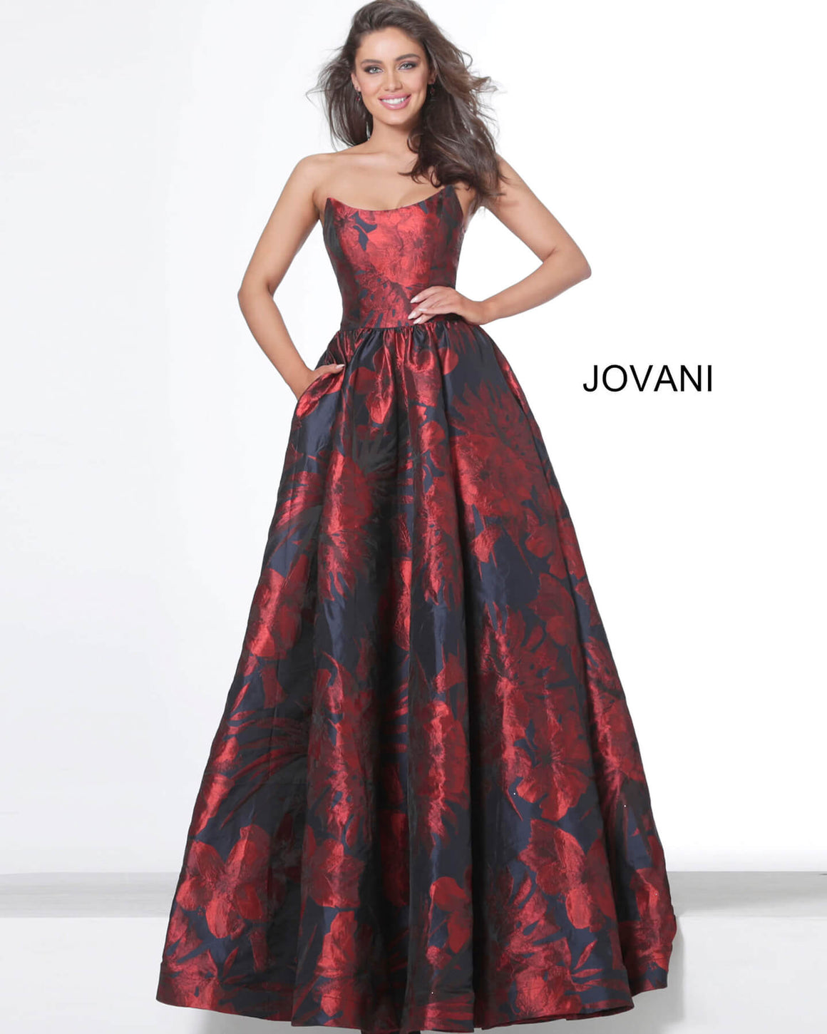 Jovani 03931 Navy Red Floral Strapless Evening Ballgown