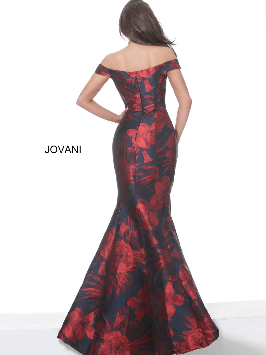 Jovani 03932 Navy Red Off the Shoulder Sweetheart Neck Evening Dress