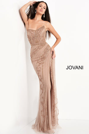 Jovani 04122 Strapless Embellished Evening Dress