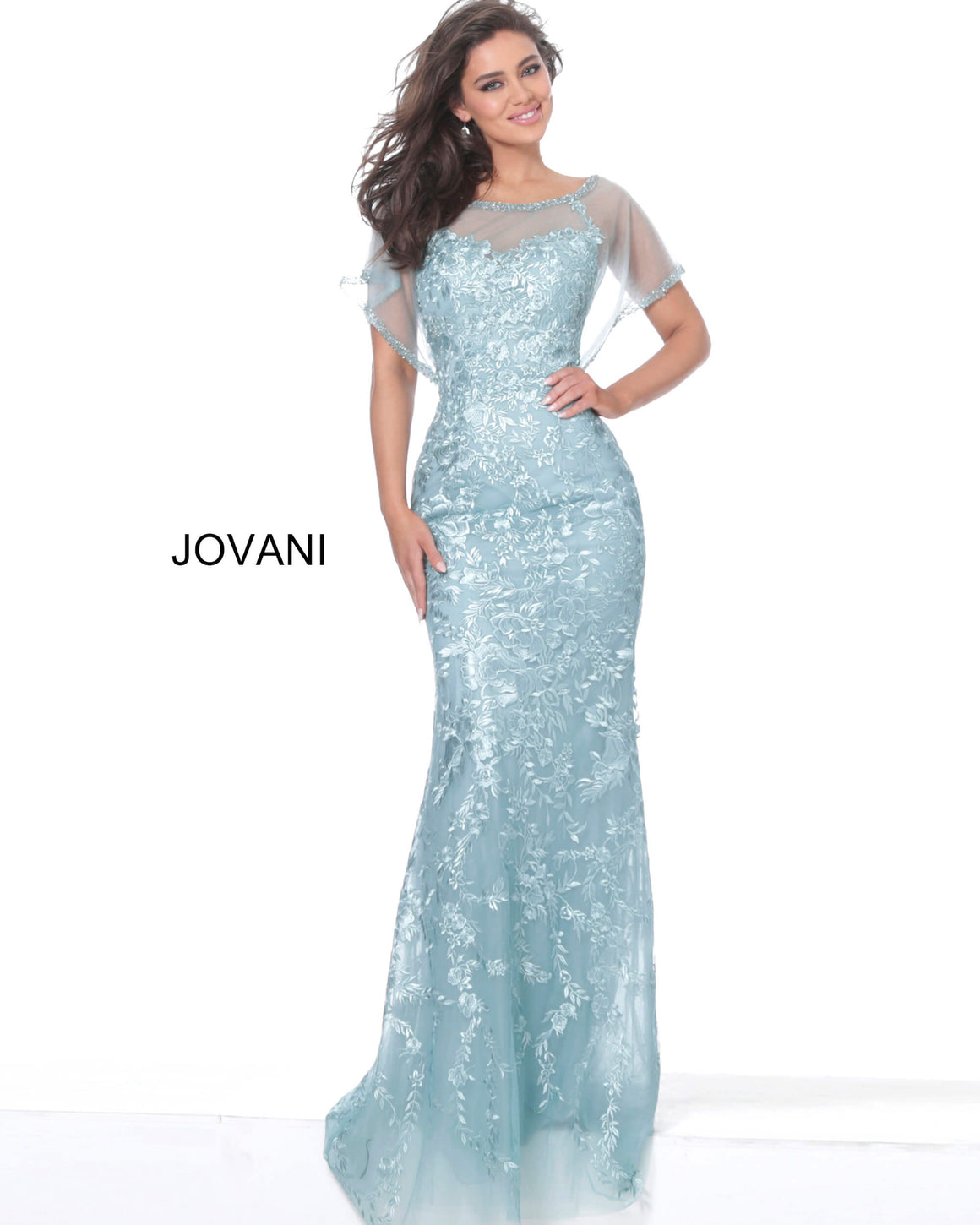 Jovani 04458 Embroidered Sheer Neck Evening Dress