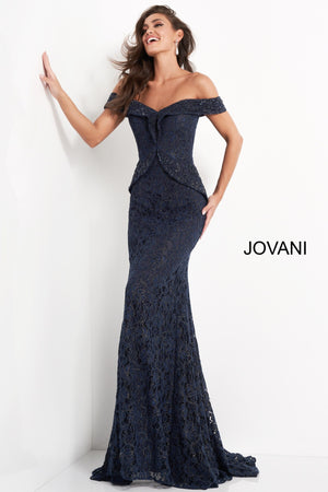 Jovani 05059 Off the Shoulder Embellished Evening Dress