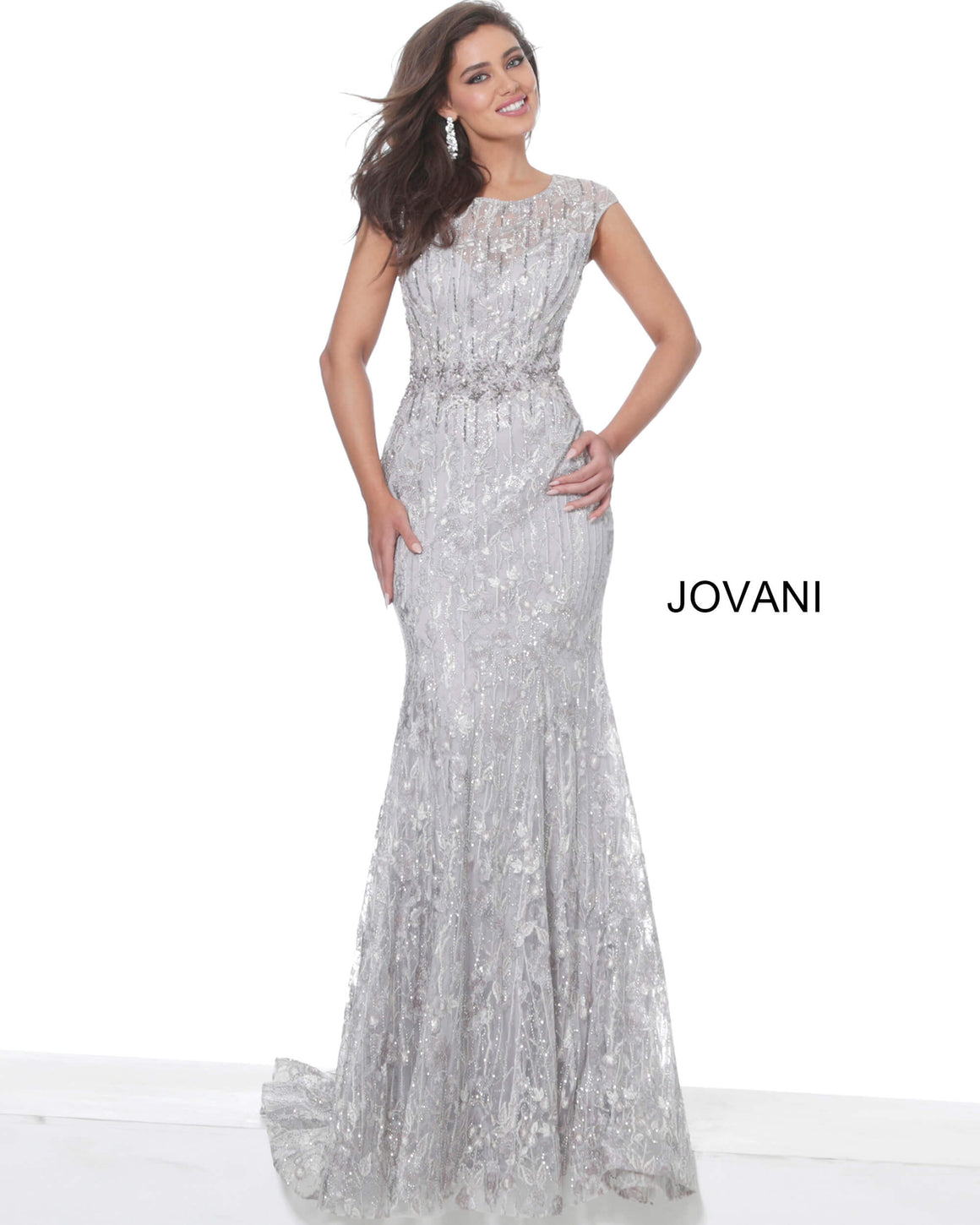 Jovani 05339 Light Purple Cap Sleeve Embellished Evening Dress