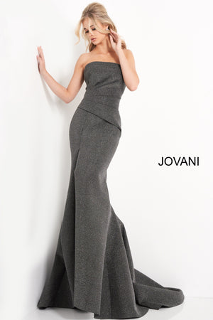 Jovani 05490 Black Silver Pleated Bodice Evening Dress