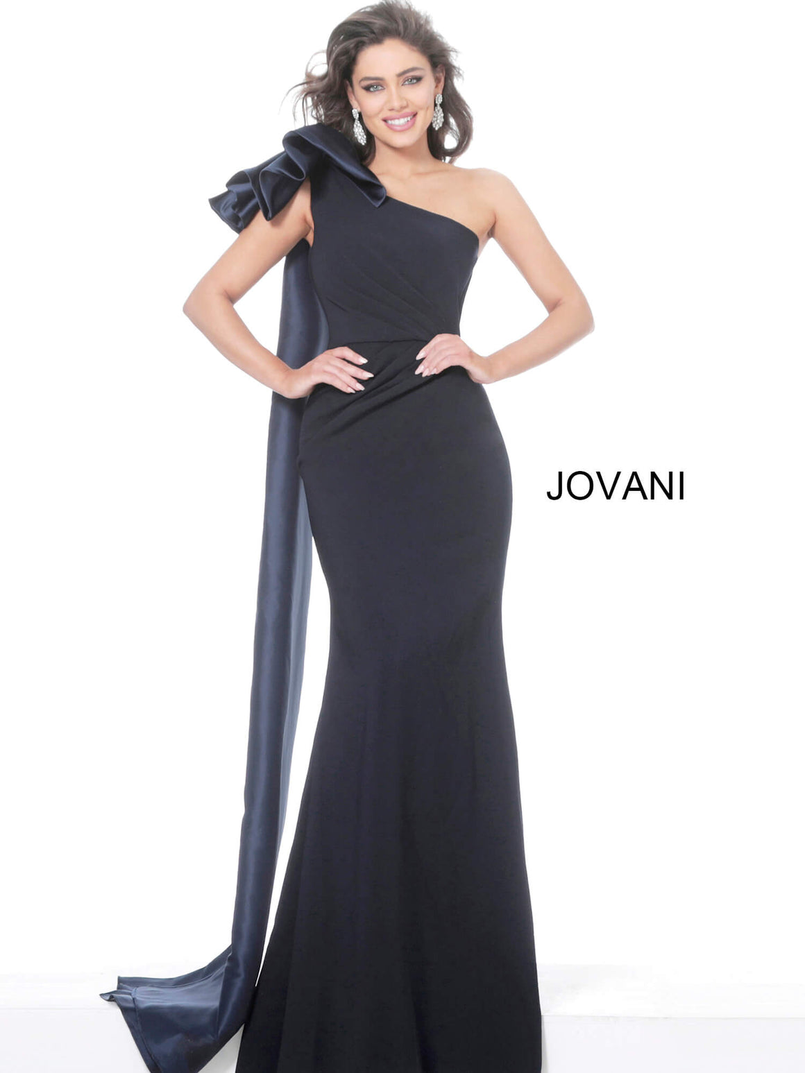 Jovani 1008 One Shoulder Ruched Waist Evening Dress