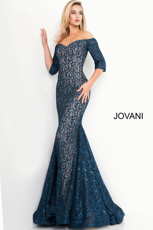 Jovani 1198 Lace Off the Shoulder Evening Dress