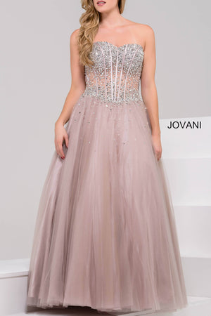 Jovani 1332 Strapless A-Line Long Dress
