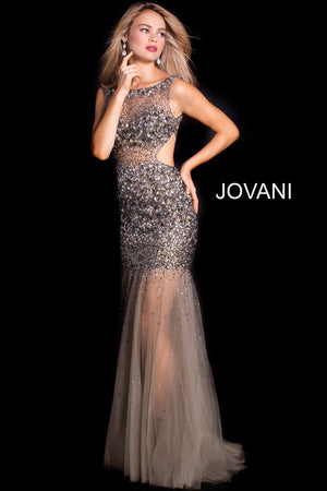 Jovani 171100 Sheer Beaded Open Back Long Dress