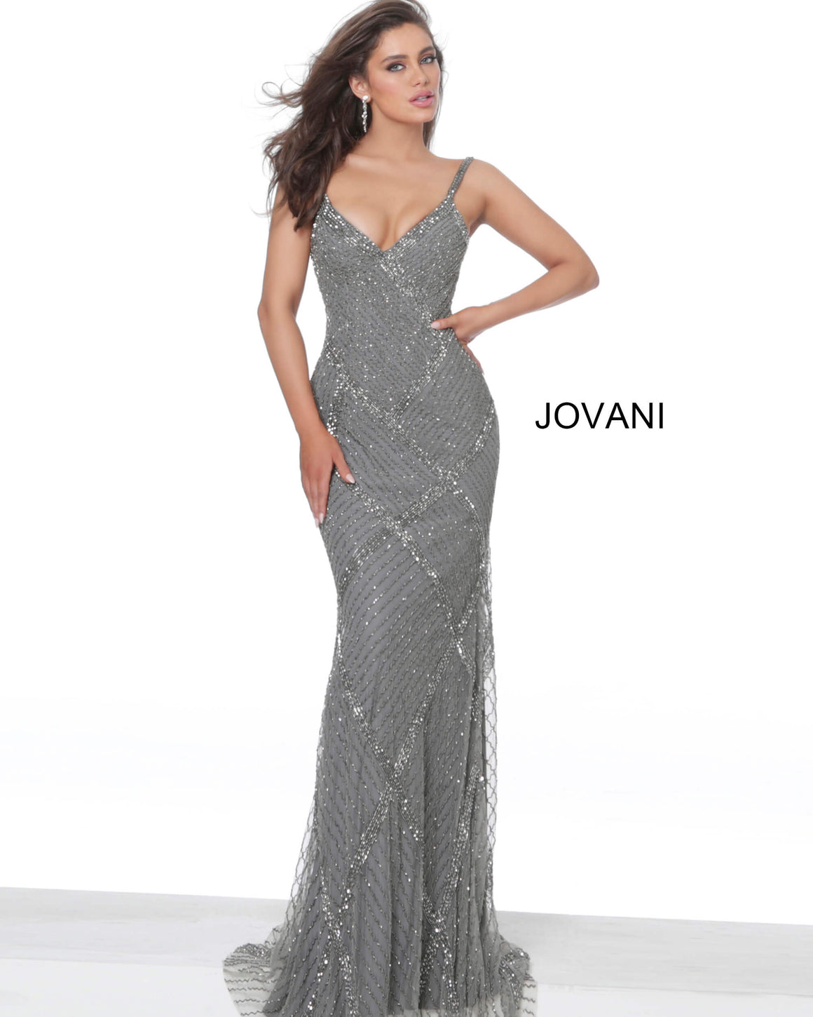 Jovani 2727 Charcoal Embellished V Neck Evening Dress