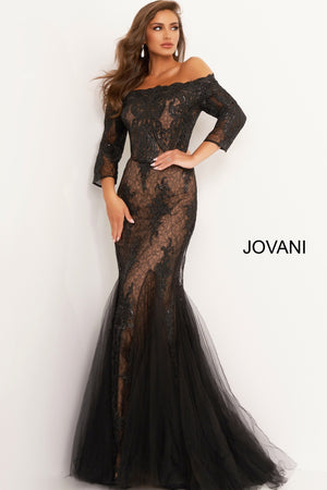 Jovani 3376 Off the Shoulder Mermaid Evening Dress