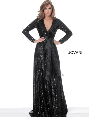 Jovani 3395 Black Long Sleeve Wrap Maxi Evening Dress