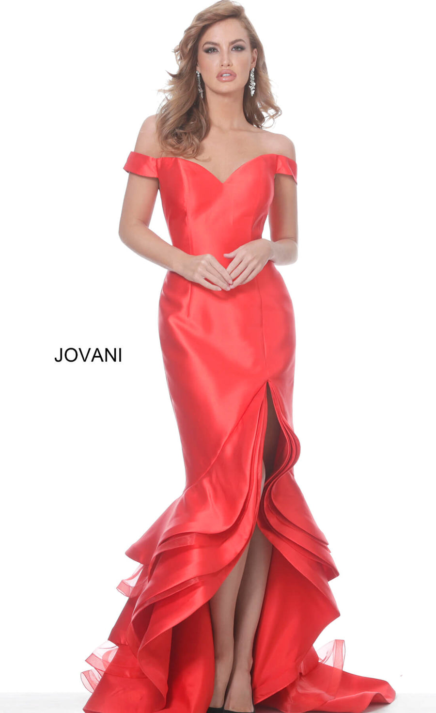 Jovani 3823 Off the Shoulder High Low Evening Dress