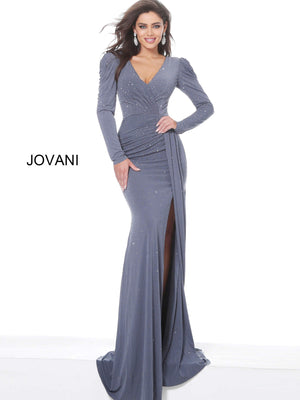 Jovani 4068 Puff Sleeves Embellished Evening Dress
