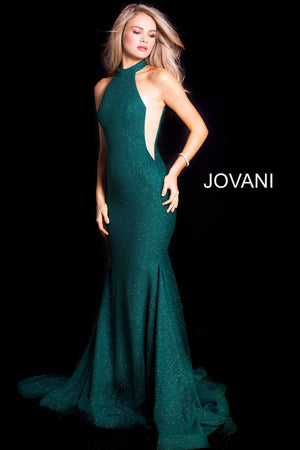 Jovani 55185 Glitter High Neck Mermaid Dress