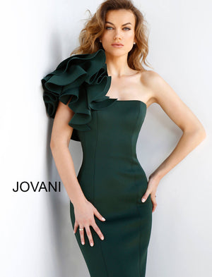 Jovani 63994 One Shoulder Fitted Scuba Evening Dress