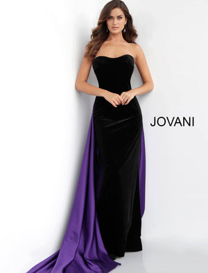 Jovani 64830 Strapless Velvet Long Dress