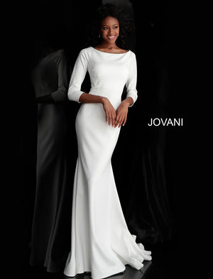 Jovani 67662 Three Quarter Sleeve Boat Neckline Long Dress