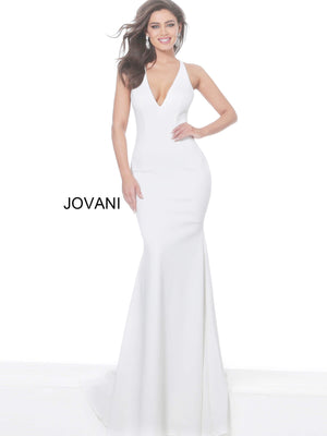 Jovani 67865 Plunging Neck Open Back Evening Dress
