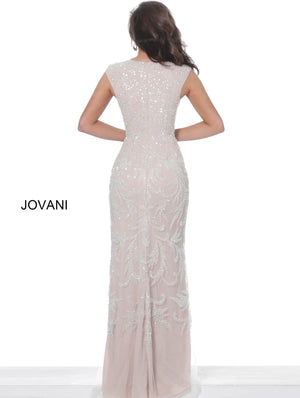 Jovani 8102 Silver Nude V Neck Fitted Evening Dress