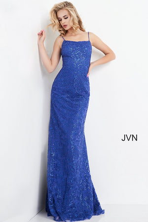 JVN04579 Embroidered Spaghetti Strap Prom Dress